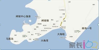 闸坡镇的全景图,各个景区分布点.
