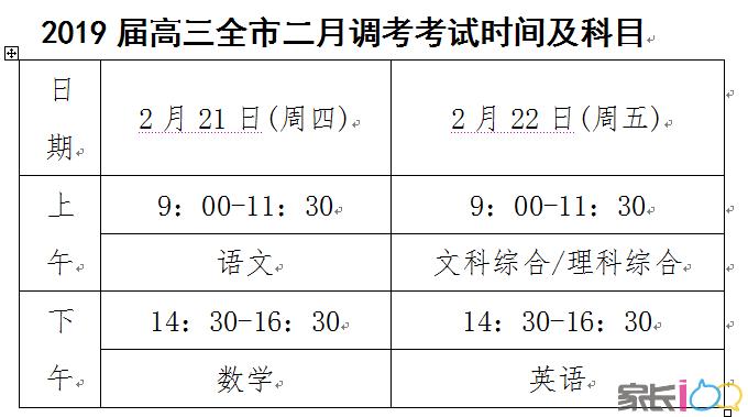 最新!2019高三全市二调考试时间安排