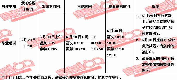 漢陽區六年級畢業考試具體安排!