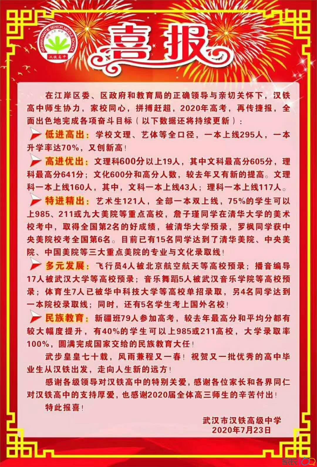 漢鐵高中2020屆高考,一本升學率達70%