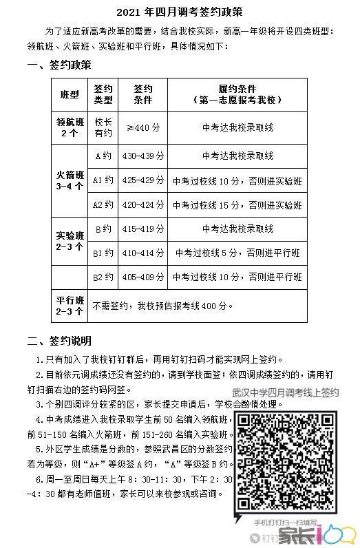 武漢中學2021四調簽約劃線,440分以上簽約領航班
