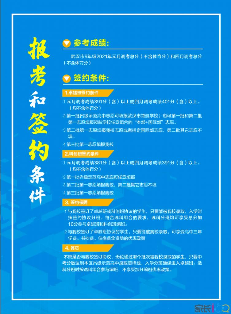光谷二高2021報考和元調、四調簽約條件