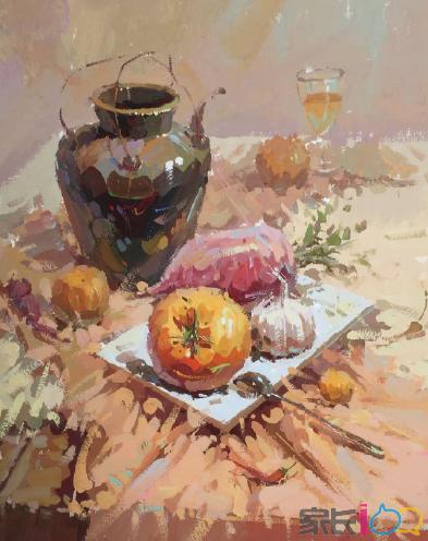 武汉209画室:美术集训丨深色陶罐花卉组合
