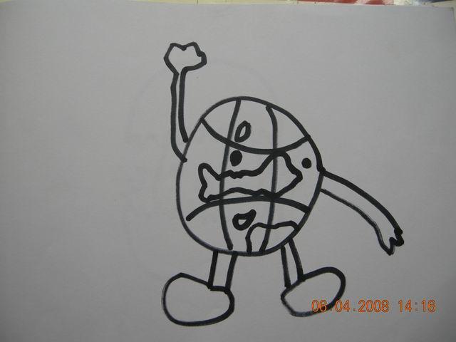 卡通地球简笔画彩色铅笔画