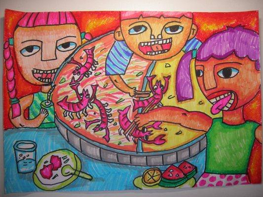 幸福的一家人吃饭简笔画